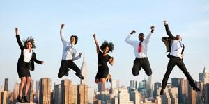 Business People jump for Success Achievement