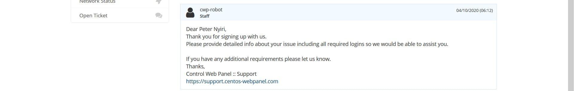 CentOS Web Panel support