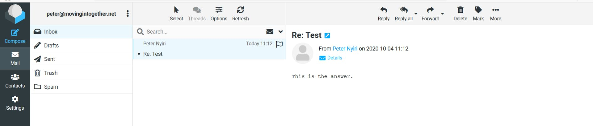 incoming test email