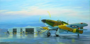 """Hawker Hurricanes MK-IIC depicted fictitiously during an overnight stopover at 42 Air School in Port Elizabeth, South Africa during WW2. The Bellman hangers can be seen in the background. Only one Bellman now remains which forms part of the SAAF Museum in Port Elizabeth. The painting can be viewed in the SAAF Museum Art Gallery. Size: 1000 x 500mm. Price: R3333.00. Notes by Paul Stringer: Friend of the PE SAAF Museum & currently authoring a book on the 42AS. The Hurricanes at Port Elizabeth were from """"B"""" Flight of 11 Operational Training Unit, SAAF, which had flown from St Albans since June 1944, but were transferred to the north (terminal building) side of P.E airport in February 1945. 11 OTU was disbanded on 28th July 1945 with some of its Hurricanes retuning to Waterkloof, but most being disposed of by 7 A.D. (where the Air Force Base is now) 42 A.S. never flew Hurricanes as far as I know."""