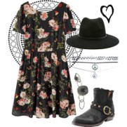 floral dress and fedora