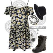 cold-shoulder daisy dress
