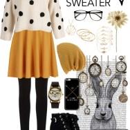 fall sweater - mustard and polka dots
