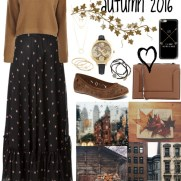 long print skirt and jumper