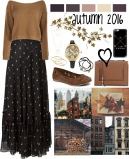 long print skirt and jumper