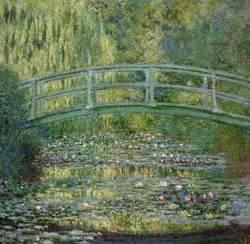 the waterlily pond with japanese bridge