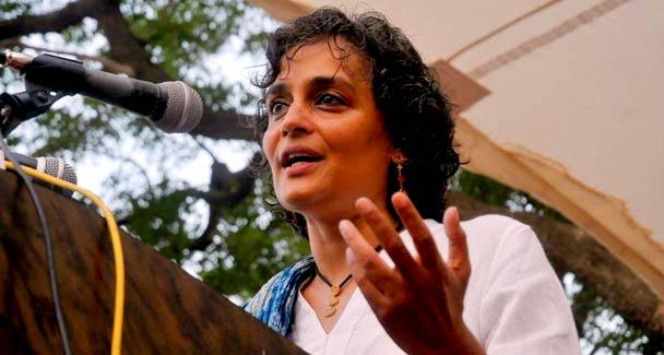 Celebrated Indian author and social activist Arundhati Roy addresses a gathering at the Karachi Press Club on Friday.-Photo WhiteStar/Fahim Siddiqui