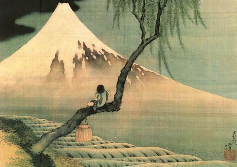 Hokusai boy on the tree