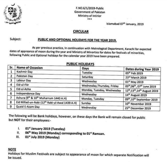 Government announced Official Public Holidays in 2019, Public Holidays in pakistan, public holidays in 2019