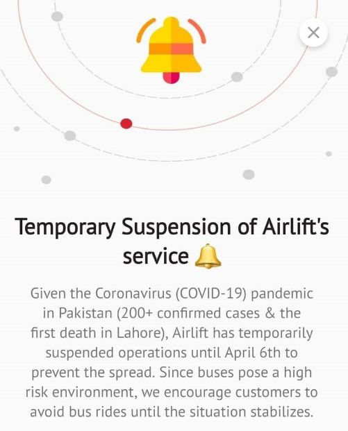 Temporary Suspension of Airlift Service