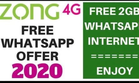 Zong Free WhatsApp code Without Balance 2020