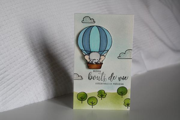 Carte naissance elephant montgolfiere