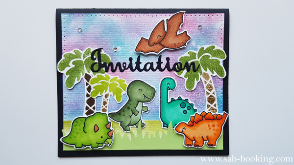 Une invitation sur le theme des dinosaures.