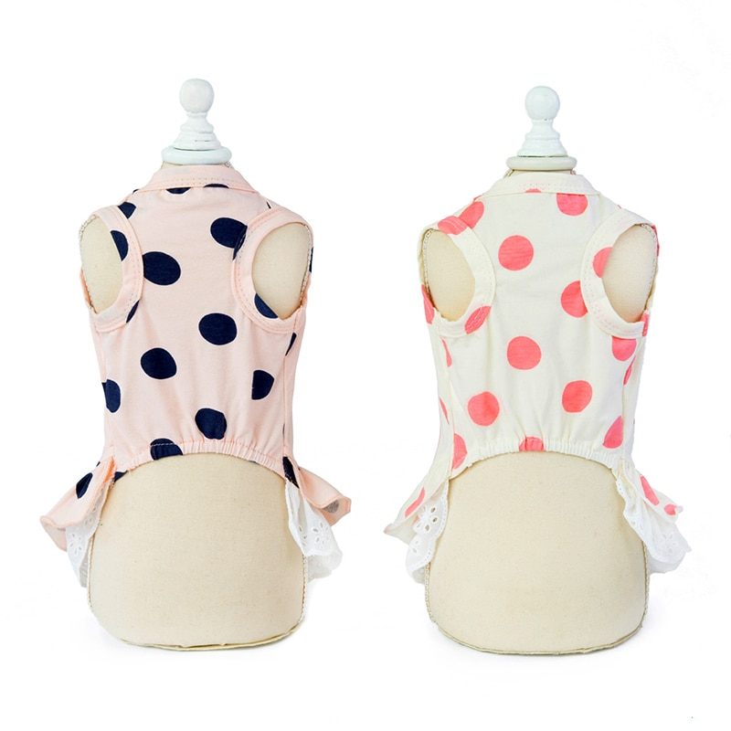 1Pc Soft Cotton Summer Dot Dress for Small Dogs