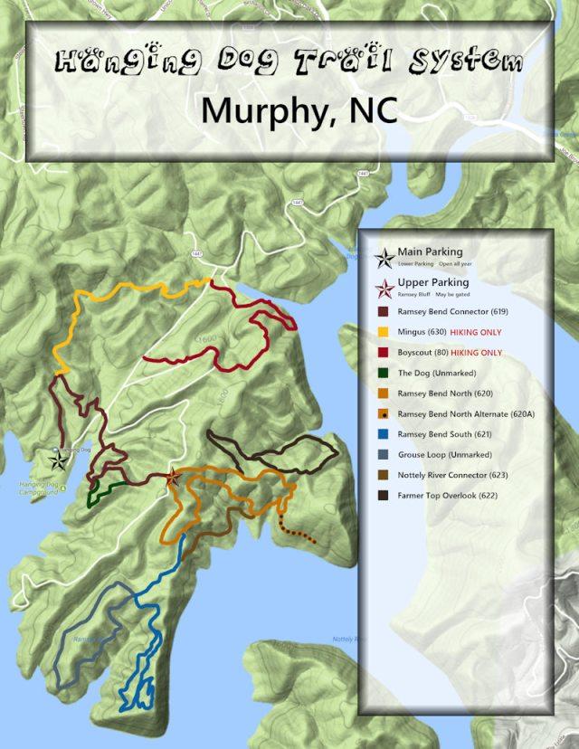Hanging Dog Trail Map - Murphy, NC