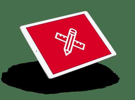 Imagen de un equipo con icono de diseño web a medida