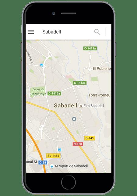 Mapa de Sabadell en Google Maps versión Móvil
