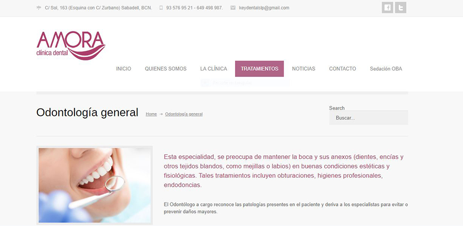 Pantallazo página web Amora Clínica Dental
