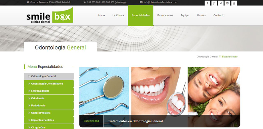 Pantallazo página web Clínica Dental Smile Box