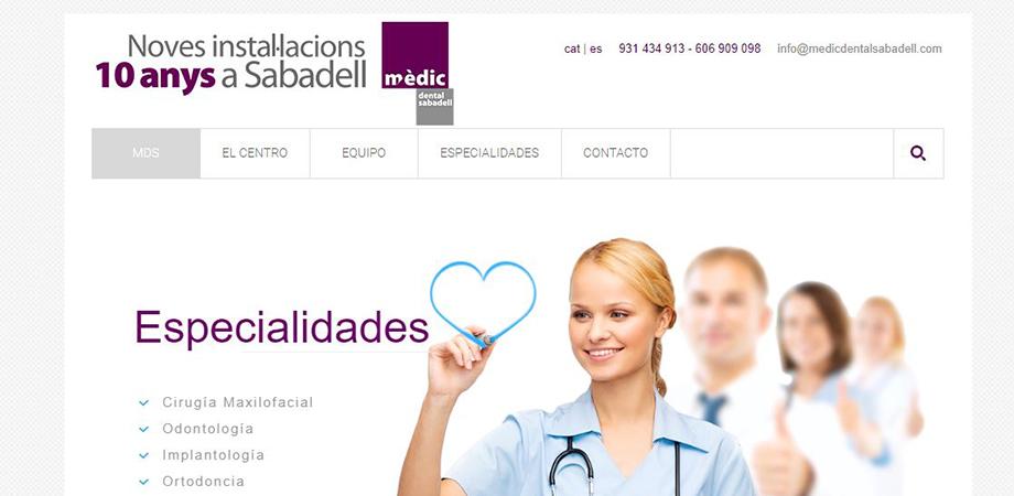 Pantallazo página web Mèdic Dental Sabadell