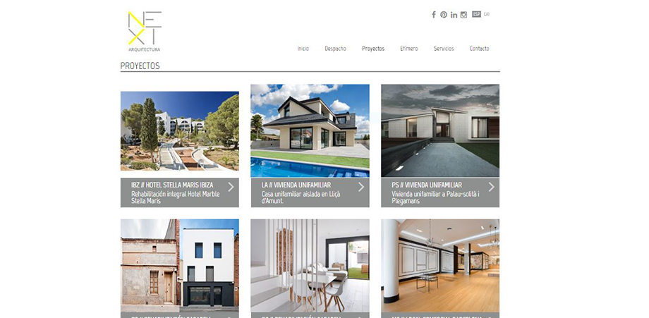 Pantallazo de la web de Next Arquitectura