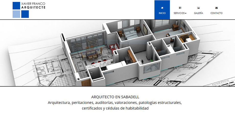 Pantallazo página web Xavier Franco Arquitecto