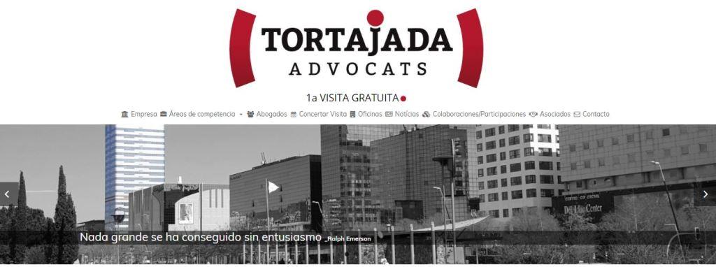 Pantallazo de la página web de Tortajada Advocats