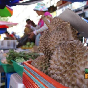 At the Gaya Street Sunday Market you will find fresh durian and other fruit