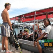 Sabah Divers diving boat leaving from the jetty in Kota Kinabalu