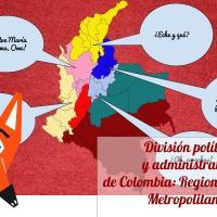 División Política - Administrativa de Colombia: Regiones y Áreas Metropolitanas.