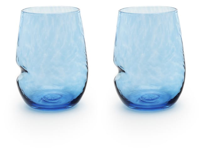 two blue glasses