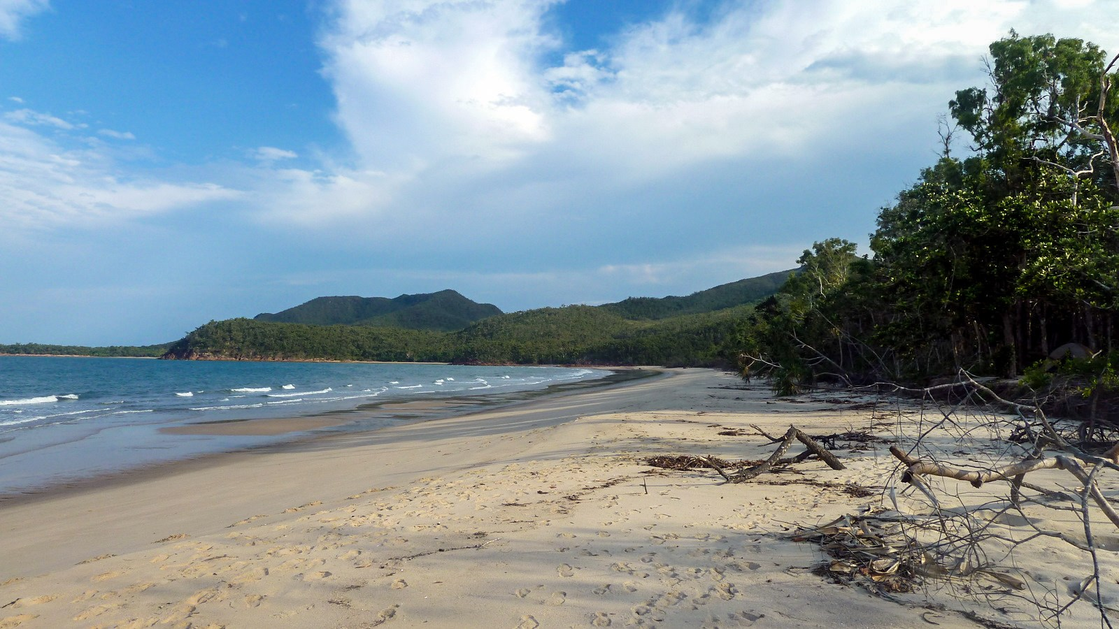 a photo of the beach campsite on hinchinbrook island.