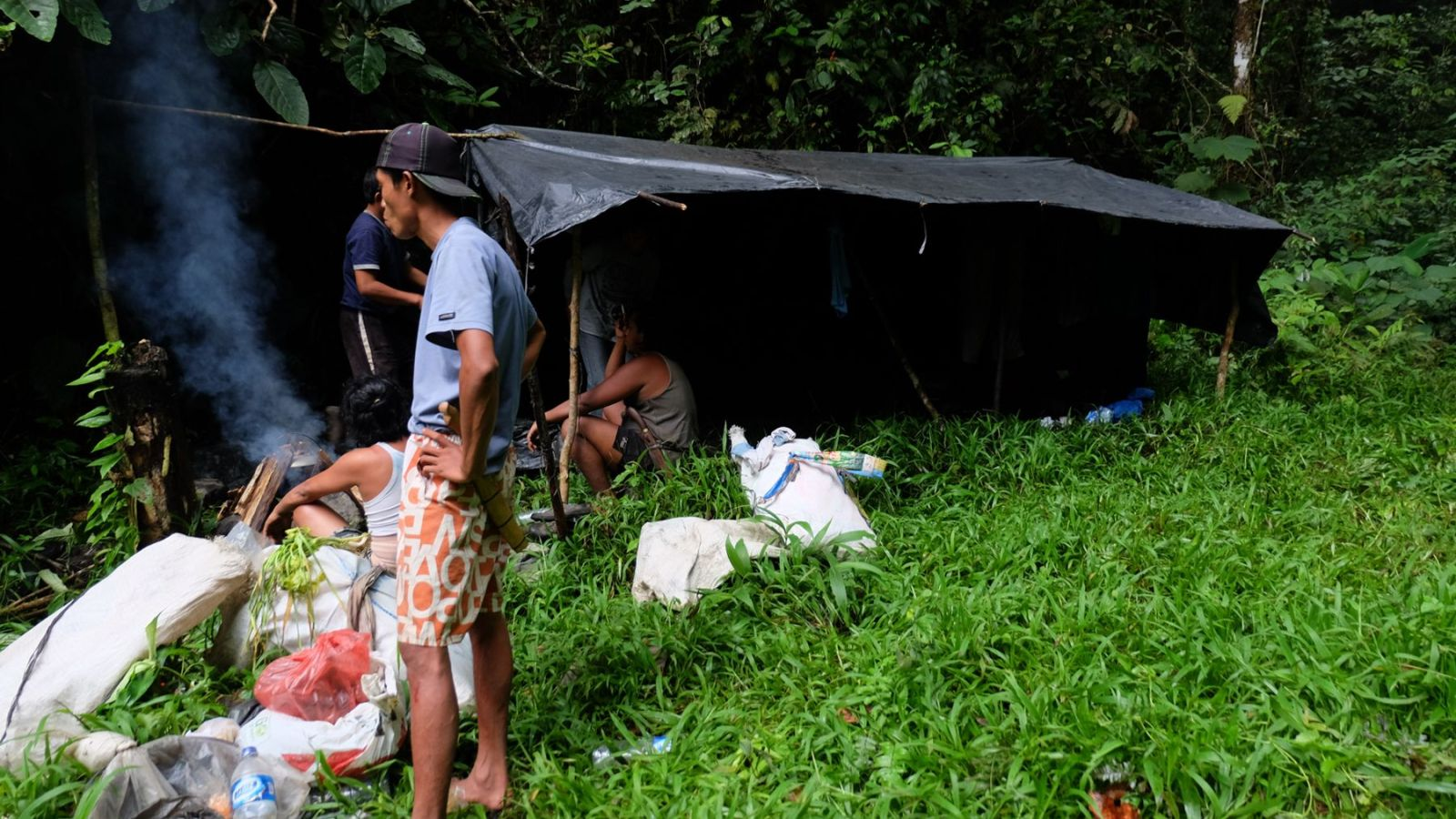 photo of a makeshift camp in gunung leuser national park
