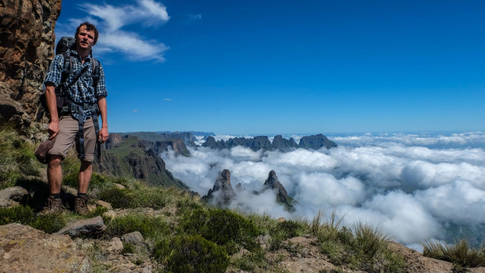 photo from mountain plateau above the clouds in the drakensberg mountains