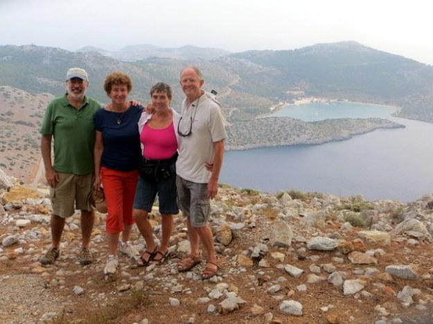 Melinda and Davd (Sassoon) and Mark and Laura overlokking Panormittis Bay