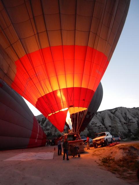 Balloon is inflated (Cappadocia)