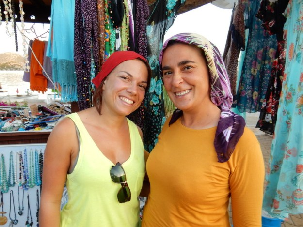 Adina and scarf maker pose after purchase, Üçağız (Kekova)