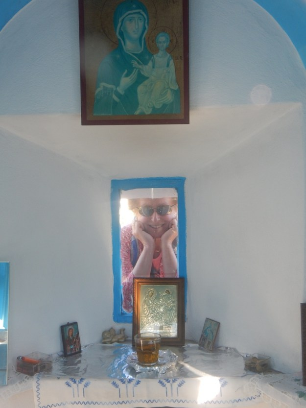 Tiny chapel in the Mikro Horio of Agathonisi was religious paintings and icons including the rare Our Lady in the Sunglasses