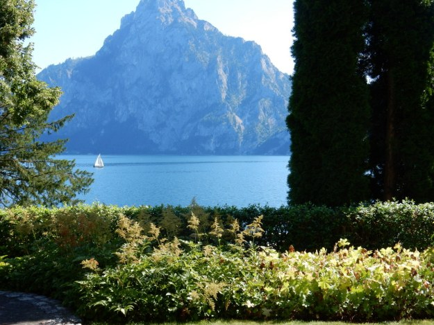 View out from the front door of our place (Villa Otterstein) on Lake Traunsee