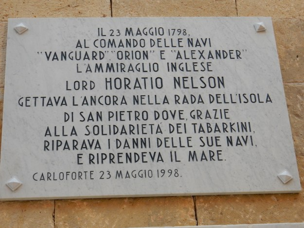 Plaque in honor of Lord Nelson
