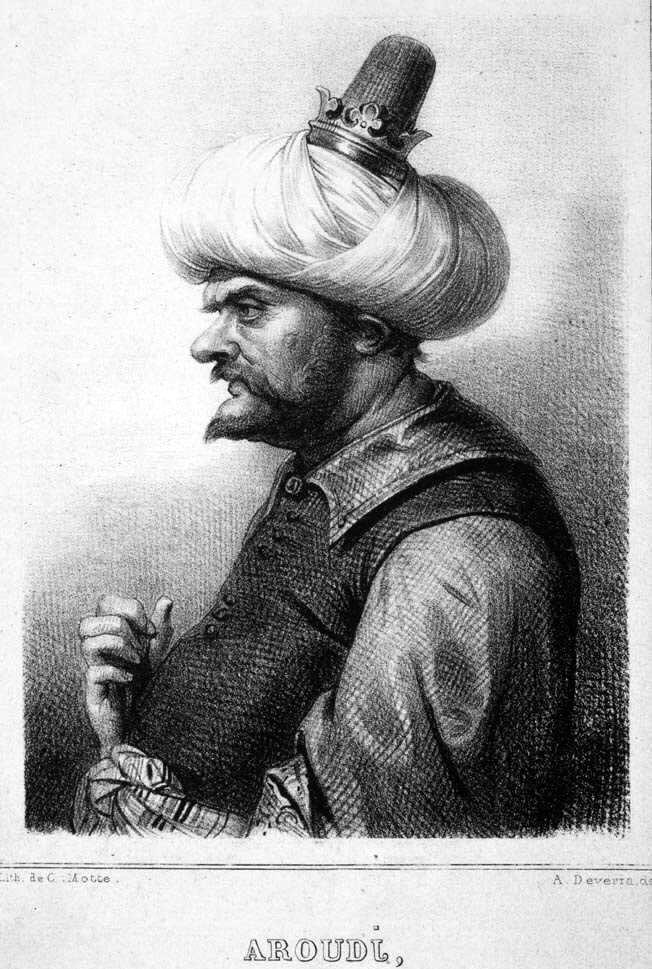 3. El pirata Berberisco Barbarroja, terror del Mediterráneo en el siglo XVI. Charles Motte (1785–1836) . Litografía