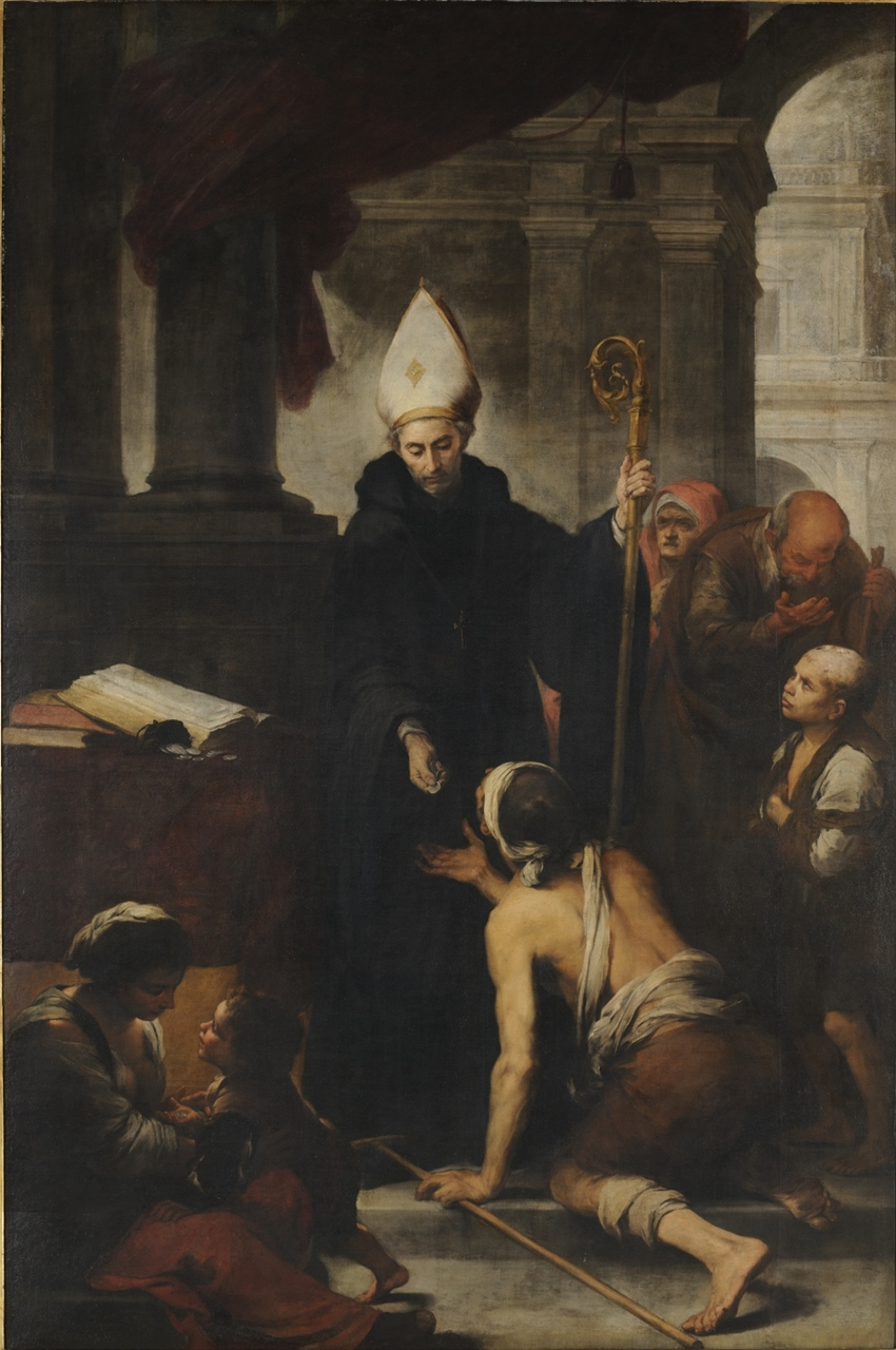 Santo Tomás de Villanueva repartiendo limosna. Bartolomé Esteban Murillo. Óleo, 1678