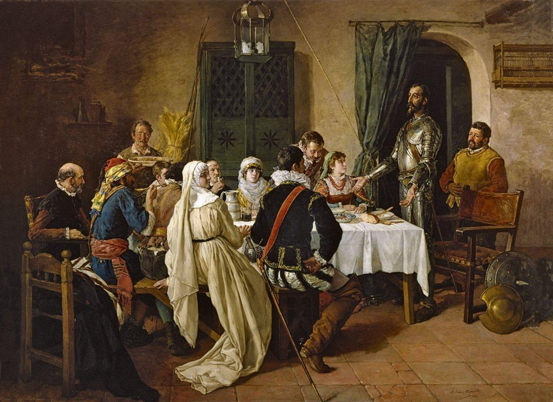 Don Quijote preside la comida en una venta, junto a la supuesta princesa Micomicona. Óleo por Manuel García «Hispaleto». Siglo XIX. Museo del Prado