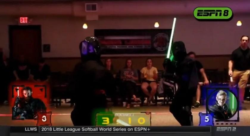 espn 2 schedules 1 hour of the saber legion lightsaber fights on