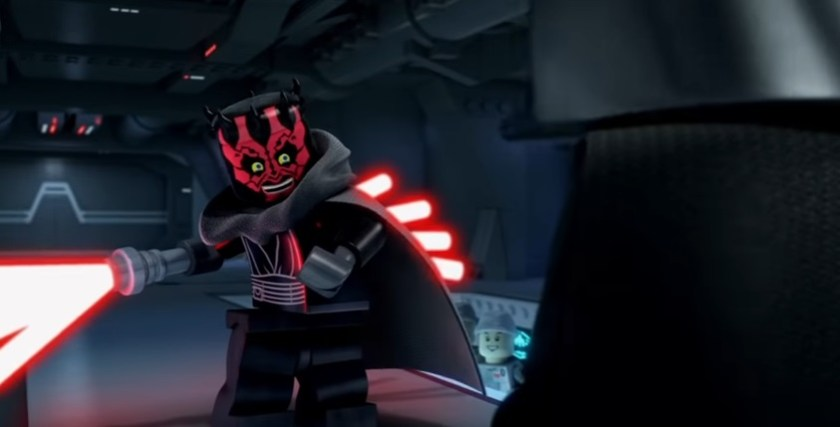 LEGO Darth Maul gleefully wields an eight-bladed lightsaber in LEGO Star Wars: The Empire Strikes Out