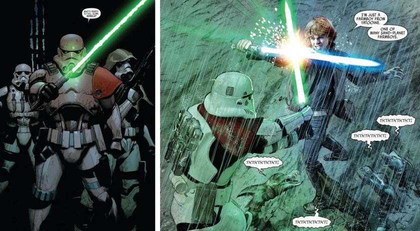 Imperial Sergeant Kreel wields a green-bladed lightsaber in the Star Wars comic book series