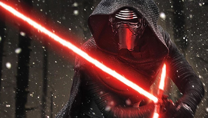Kylo Ren and his red-bladed crossguard lightsaber