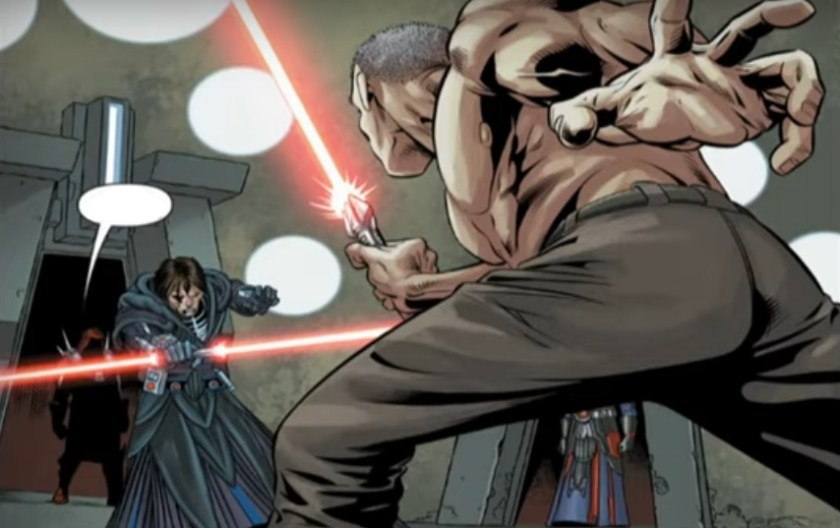 Lord Calypho fights his Sith apprentice in a lightsaber duel