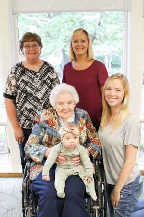 Mavis Marti of Bern is honored for a gathering to meet her great-great-granddaughter. Pictured are FRONT (L-R) Mavis Marti holding great-great granddaughter Willa Jay Emert of Seattle, Washington; and great-granddaughter Jordyn Emert, also from Seattle; BACK (L-R) daughter Sharon Duryea and granddaughter Liese Haverkamp, both of Topeka.