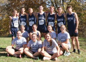 The varsity cross country runners gather for a group photo after the 3A State Meet on Saturday, October 27, at Rim Rock. Pictured are FRONT ROW (L-R) Ellen Glynn, Hunter Lowdermilk and Hattie Lukert; MIDDLE ROW (L-R) Kenzie Meyer, Skylar McAfee, Jadyn Dorn and Madisen Cochran; BACK ROW (L-R) Braden Menold, Darrin Funk, Kaden Dillon, Henry Glynn, Charlie Bestwick, Spencer Strahm and Micah Romines.